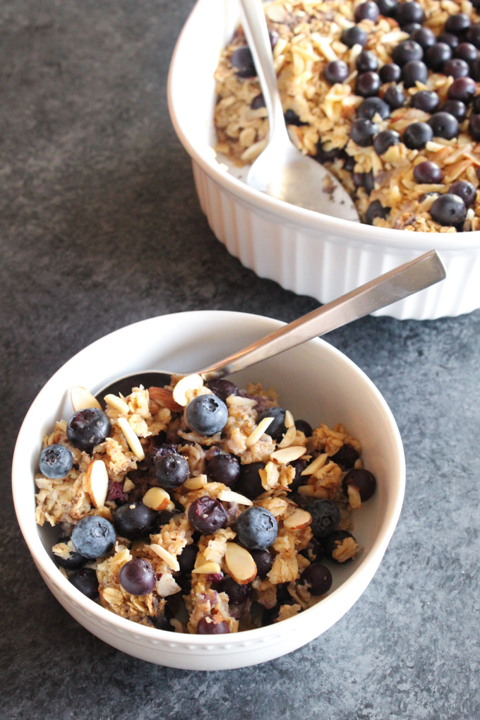 Sweetened with maple and full of fresh berries, this maple blueberry almond baked oatmeal is the perfect Sunday morning breakfast. Plus it's easy to reheat on weekday mornings!