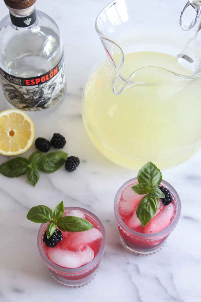 Looking for the perfect summer cocktail recipe for backyard get-togethers? This blackberry basil tequila lemonade is full of refreshing fruit flavor!