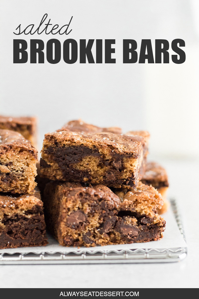 close-up side view of stacked brookie bars on a cooling rack