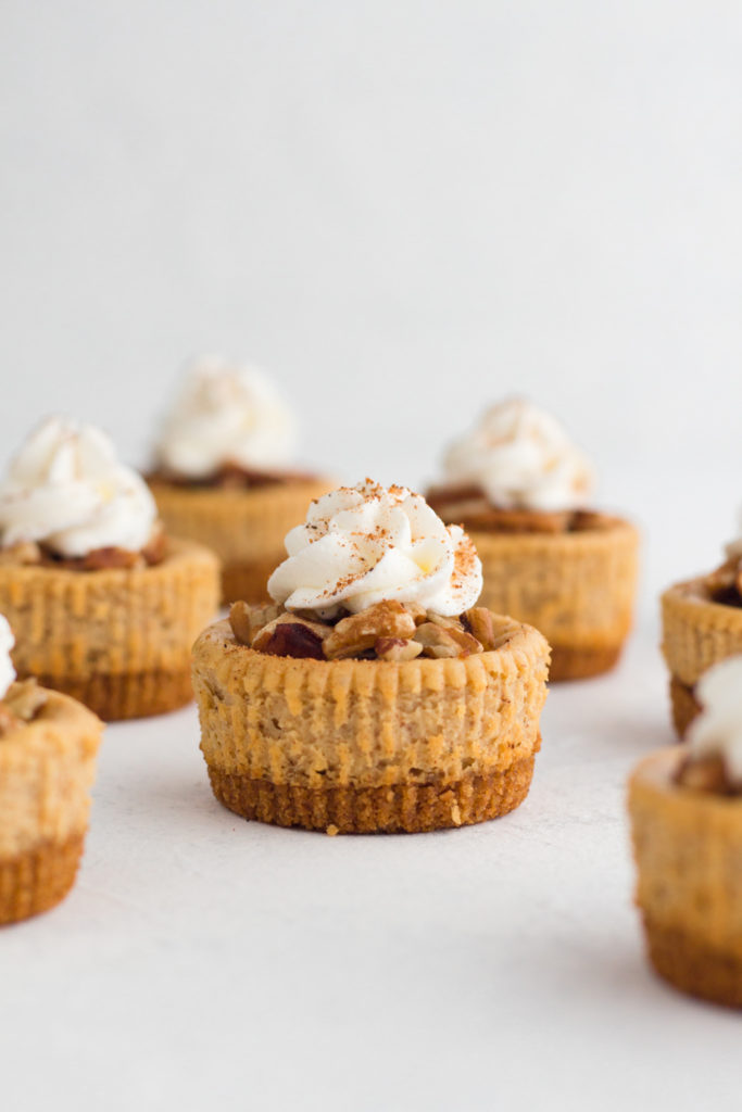 mini gingerbread cheesecakes with whipped cream topping on a white surface