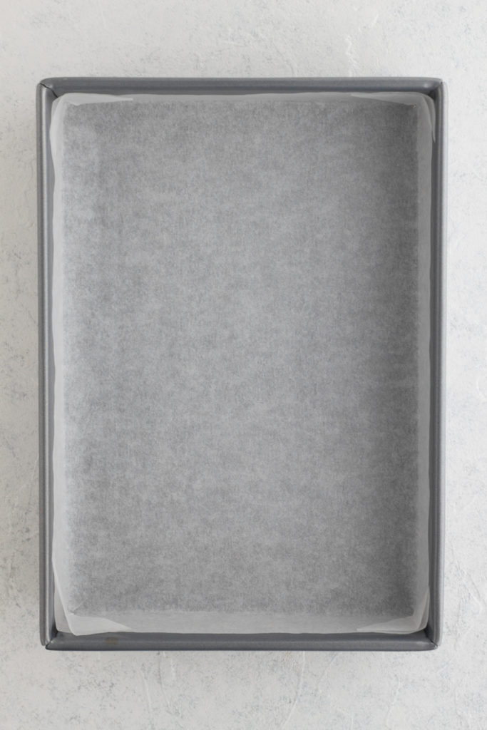 9 x 13 rectangular baking pan lined with parchment paper