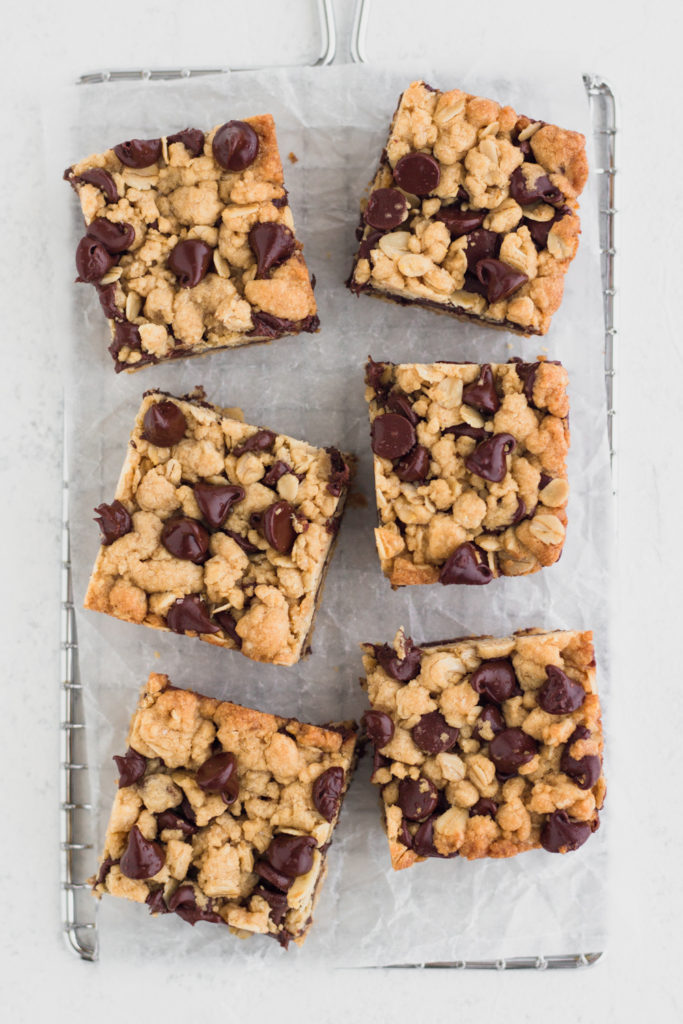 overhead view of chocolate peanut butter oatmeal bars on a cooling rack