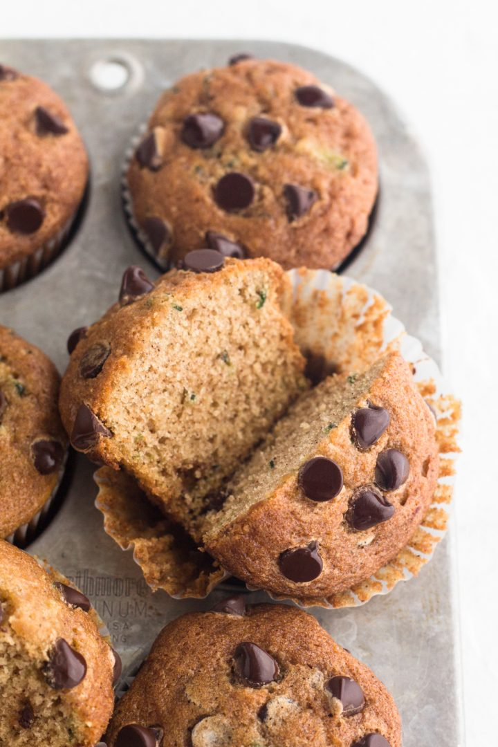angled view of chocolate chip zucchini bread muffins in a muffin pan