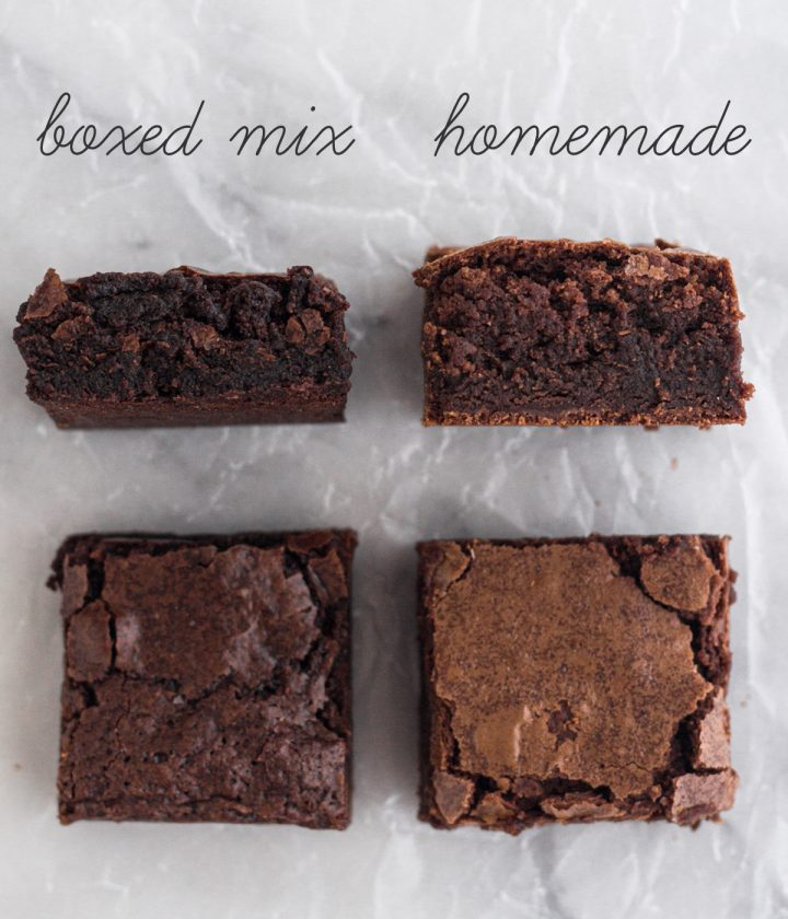 side-by-side comparison of a boxed mix brownie and a homemade brownie on a marble surface
