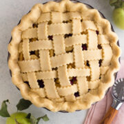 overhead view of an unbaked lattice pie