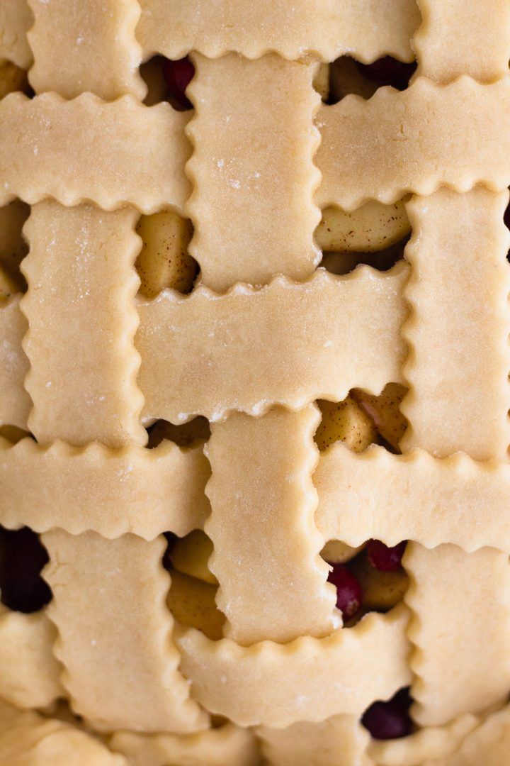 close-up overhead view of an unbaked lattice pie