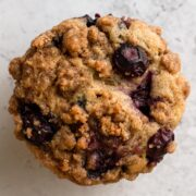 close up overhead view of muffin on gray surface