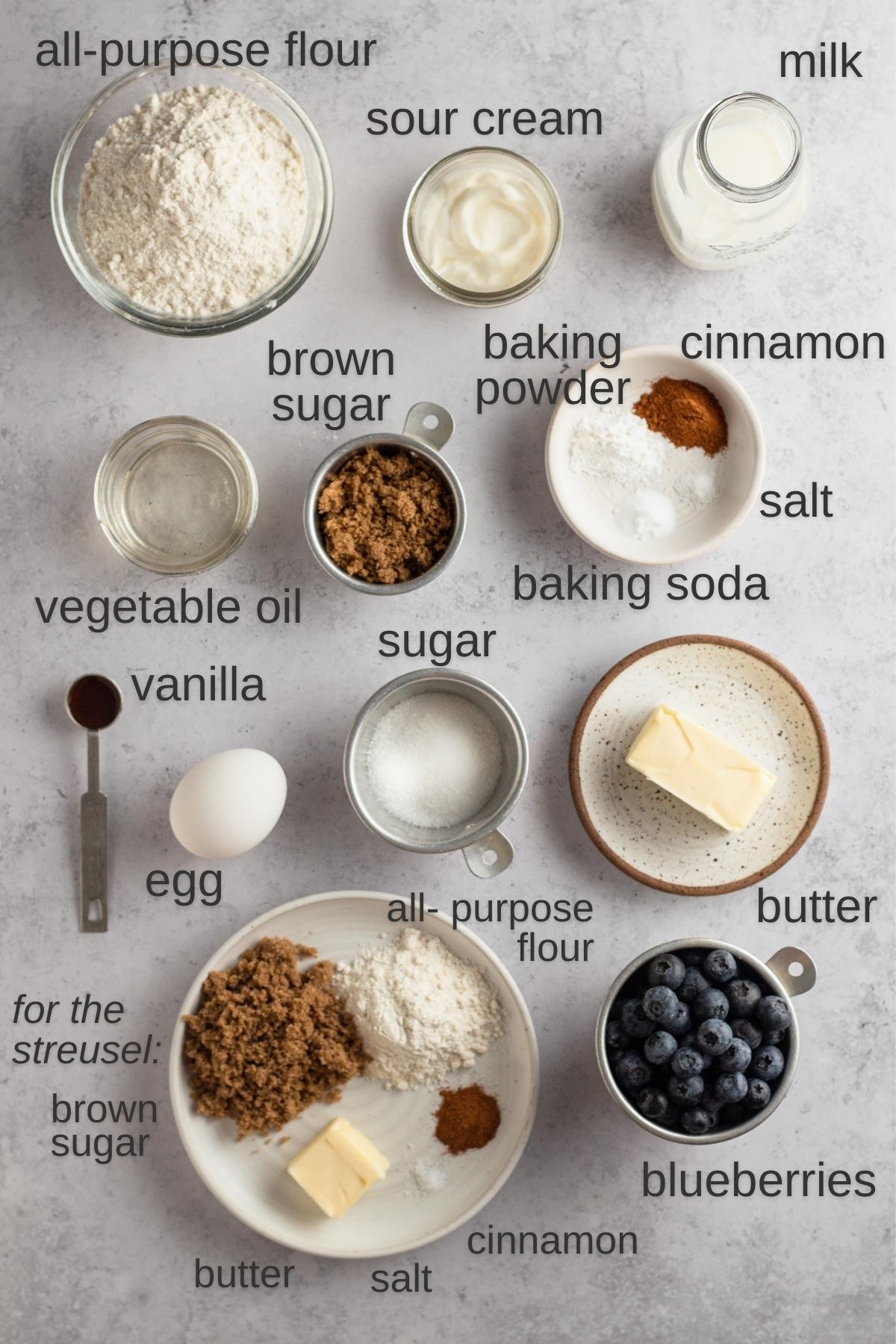 overhead view of recipe ingredients on a gray surface