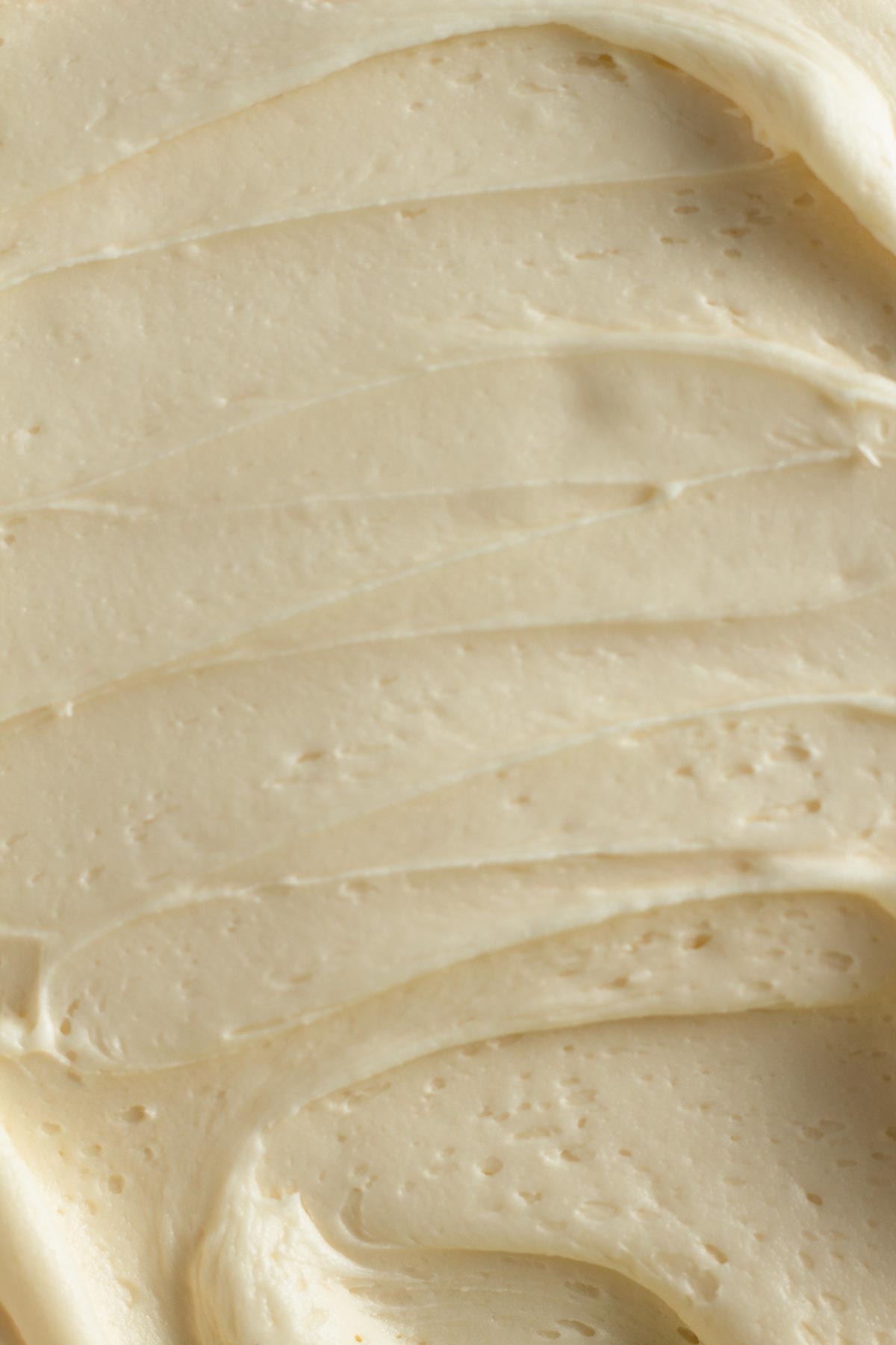 close up view of vanilla frosting