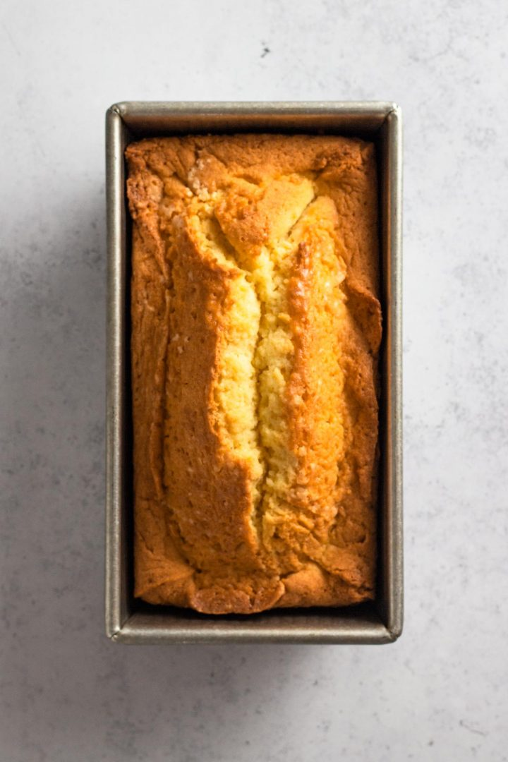 overhead view of pound cake in a loaf pan