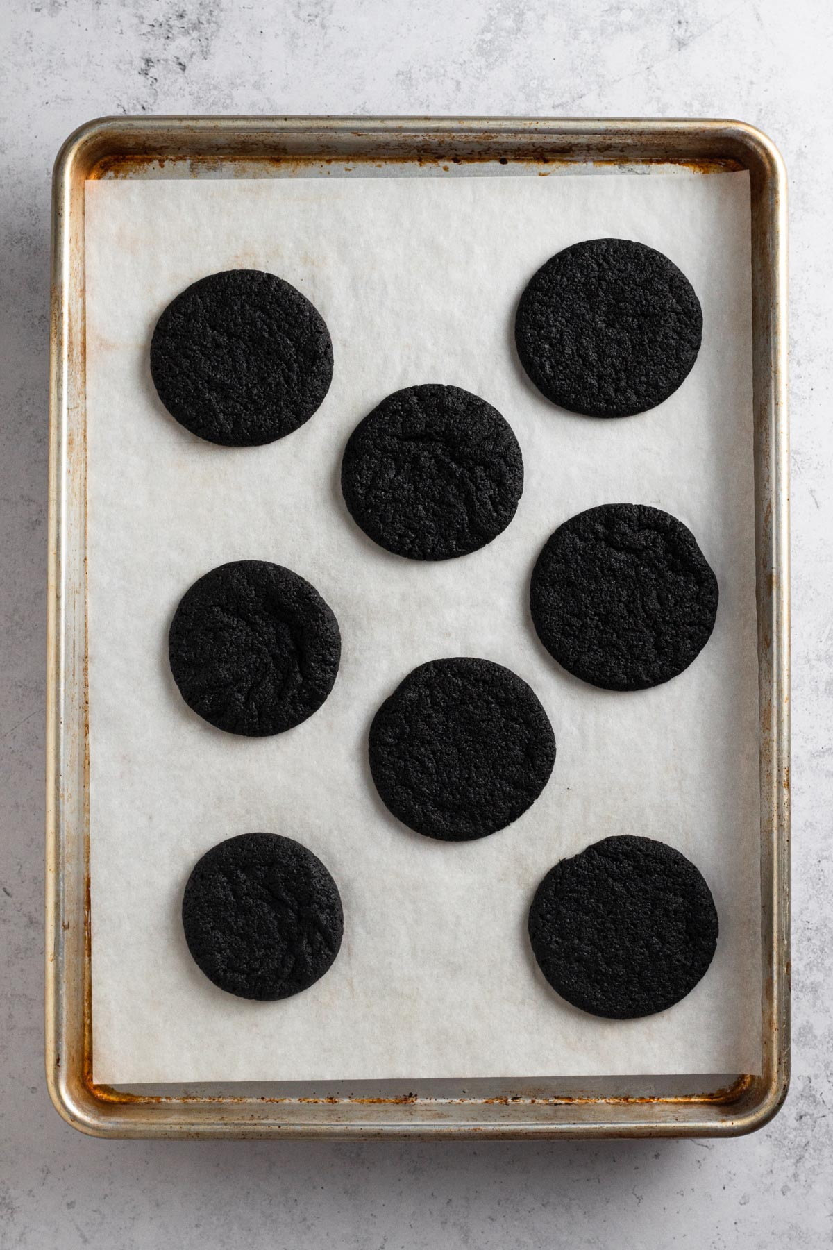 overhead view of cookies on a baking sheet